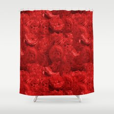 Bed of fire red roses - Rose floral Flowers pattern Shower Curtain