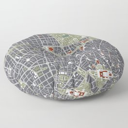 Madrid city map engraving Floor Pillow