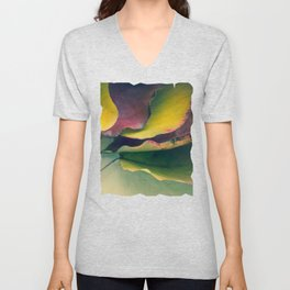 Fall Leaves II - Yellow, Lime Green, Red Purple Unisex V-Neck