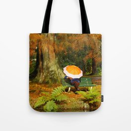 Woman sitting with umbrella Tote Bag