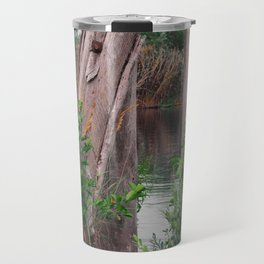 old wood and landscape in summer on the river Travel Mug