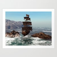 pirate ship Art Prints featuring Pirate Ship by Simone Gatterwe