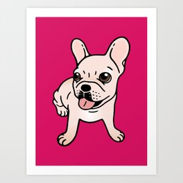 Cute cream Frenchie is ready to play Art Print