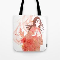 flora Tote Bags featuring Flora by Anne Cresci