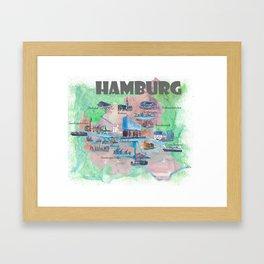 Hamburg Favorite Map with touristic Top Ten Highlights Framed Art Print