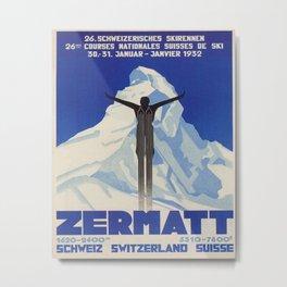 Zermatt, Switzerland Vintage Ski Travel Poster Metal Print
