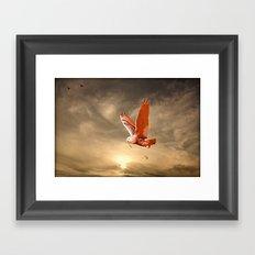 Snowy Owls Flight Framed Art Print