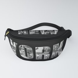 New York (black & white photo type on black) Fanny Pack