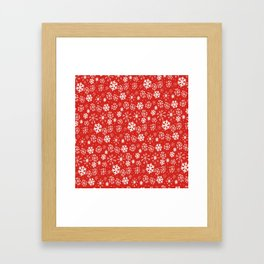 Snowflake Snowstorm With Poppy Red Background Framed Art Print