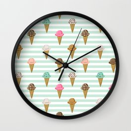 ice cream cones flavors mint stripes food fight apparel and gifts Wall Clock