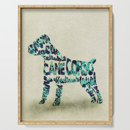 The Cane Corso Typography Art / Watercolor Painting Serving Tray