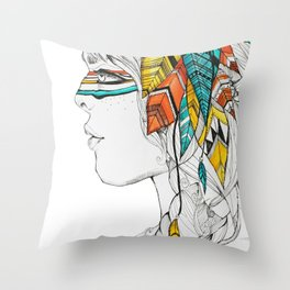 Native Woman Throw Pillow