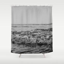 Black and White Pacific Ocean Waves Shower Curtain