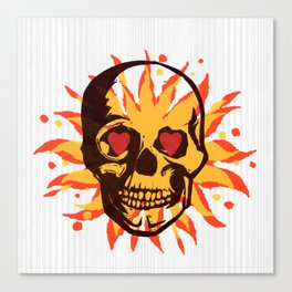 Skull - Love Flames Canvas Print