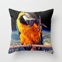 parrot Throw Pillows featuring Parrot by Cs025