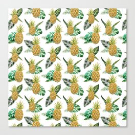 Summer tropical yellow green watercolor pineapple Canvas Print