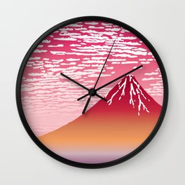 Hokusai Fuji at Sunset Wall Clock
