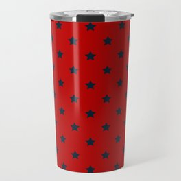 Navy Blue Stars Pattern on Red Background Travel Mug