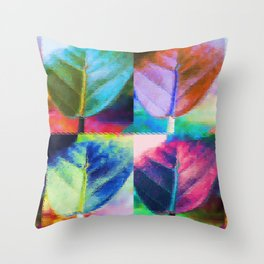 Abstract Leaf Colors Throw Pillow