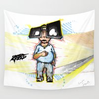 subway Wall Tapestries featuring Subway Chubway by Cadmium Craig