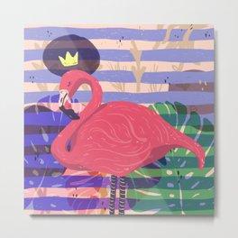 king pink flamingo Metal Print