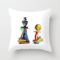chess Throw Pillows featuring chess by tatiana-teni