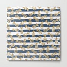Modern nautical navy blue stripes faux gold pineapple Metal Print