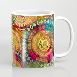 Colorful Circular Tribal  pattern with gold Coffee Mug