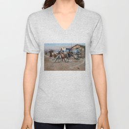 Smoke of a .45 by Charles Marion Russell (1908) Unisex V-Neck