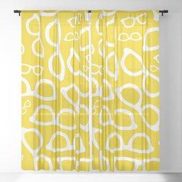 Smart Glasses Pattern - Yellow Sheer Curtain
