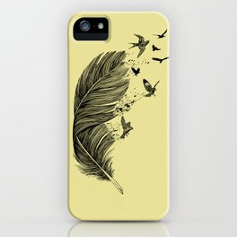Feather Birds BW iPhone Case