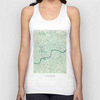 vintage map Tank Tops featuring London Map Blue Vintage by City Art Posters