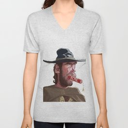 Caricature of Clint Eastwood Unisex V-Neck