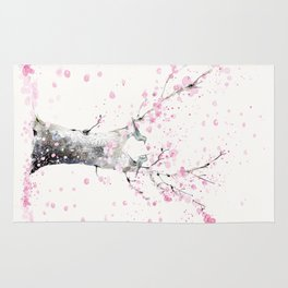 Cherry Blossoms And Birds Rug