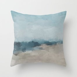 Navy Ocean Horizon Sandy Sunny Beach Day Clear Blue Skies Abstract Nature Painting Art Print Wall Decor  Throw Pillow