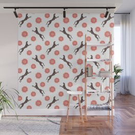 Gorgeous wild jumping cheetahs and lovely red blooming roses. Stylish classy elegant bright white retro vintage botanical animal whimsical nature black pattern. Wall Mural