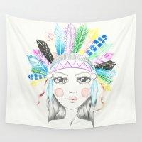 headdress Wall Tapestries featuring Indian Headdress Girl by Lisa Bulpin