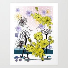Dandelion blown against the wind in spring Art Print