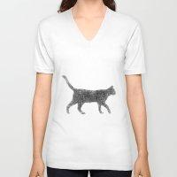 kitten V-neck T-shirts featuring Dust kitten by David Zydd