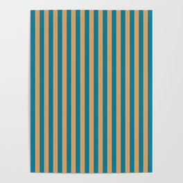 Laguna Blue and Mango Stripes Poster