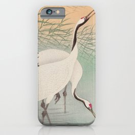 Two cranes in the lake - Japanese vintage woodblock print iPhone Case