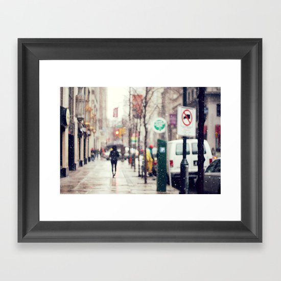 Snowing in the City Framed Art Print