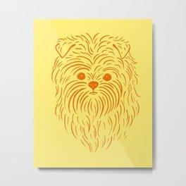 Affenpinscher (Yellow and Orange) Metal Print
