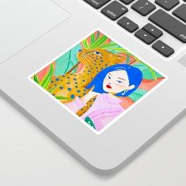 Short Hair Girl and Leopard in Garden Sticker