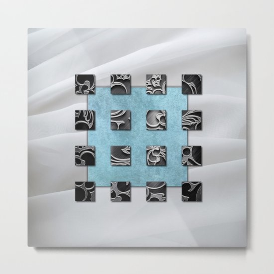 SQUARE AMBIENCE - white satin mixed-media collage Metal Print