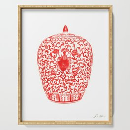 Coral Red Ginger Jar 1 Serving Tray