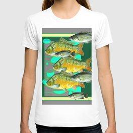 MODERN ART GREEN-GREY  SCHOOL OF  FISH T-shirt