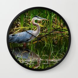 Great Blue Heron Hunting Along the River Wall Clock