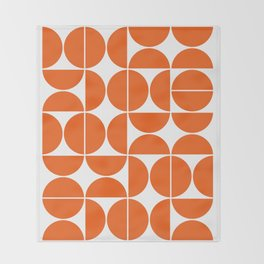 Mid Century Modern Geometric 04 Orange Throw Blanket