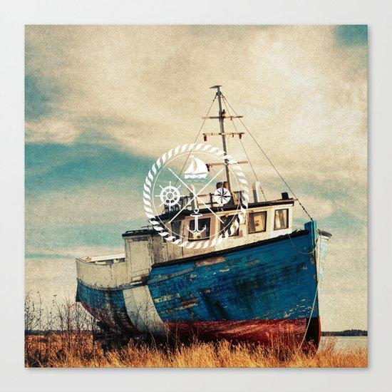 Blue Brown Vintage Nautical Anchor Sailing Boat Canvas Print